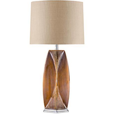 Nova Wings Twine Metalized Bronze Ceramic Table Lamp