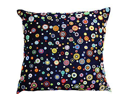 Handcrafted Navy Blue Decorative Throw Pillow Cover with Colorful Beads Embroidery - Navy Blue Accent Pillows with Red, Yellow, Blue, Green, Orange Beads - Contemporary Cushion Cover in Art Silk Dupion (18 x 18) Amore Beaute http://smile.amazon.com/dp/B00IW4IFRG/ref=cm_sw_r_pi_dp_TTA7vb1N0XAWM