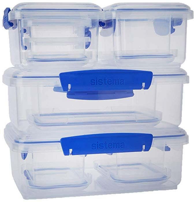 Sistema Klip It Rectangular Collection Food Storage Containers Clear Blue 10 Piece Set Review Food Storage Containers Food Storage Storage Containers