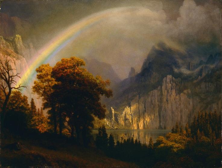 Albert Bierstadt. Rainbow in the Sierra Nevada, ca. 1871–73. Oil on panel. 18 x 24 in. Frye Art Museum, Museum Purchase 1997.006