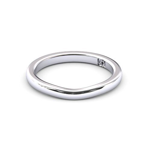 18k White Gold Fitted plain wedding band