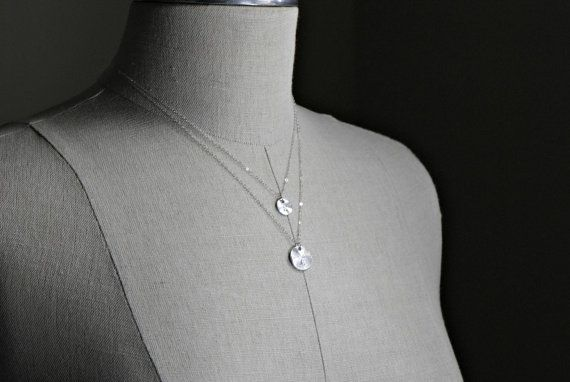 Disc Necklace Silver - Two Initials Personalized Double Necklace Multi Layer Necklace - Sterling Silver Chain on Etsy, $34.00
