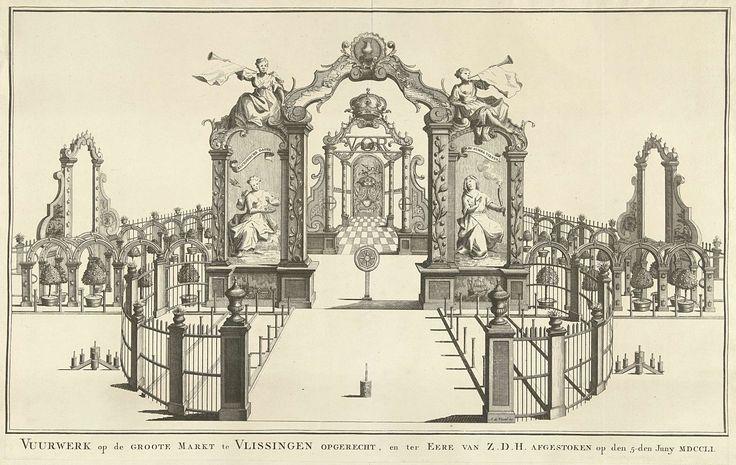 Anonymous | Stellage met het vuurwerk op de Grote Markt te Vlissingen, 1751, Anonymous, Isaak Tirion, 1753 | Stellage met het vuurwerk afgestoken op de Grote Markt te Vlissingen ter ere van het bezoek van stadhouder Willem IV. Stellage met bogen versierd met allegorische figuren. Onderdeel van de illustraties van de inhuldiging van Willem IV als erfheer van Vlissingen op 5 juni 1751.