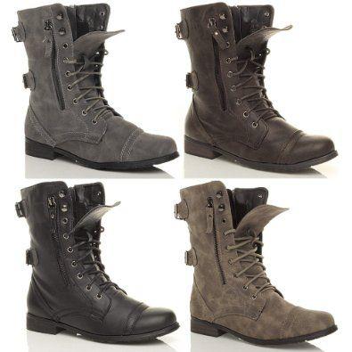 Dark Grey Combat Boots - Yu Boots