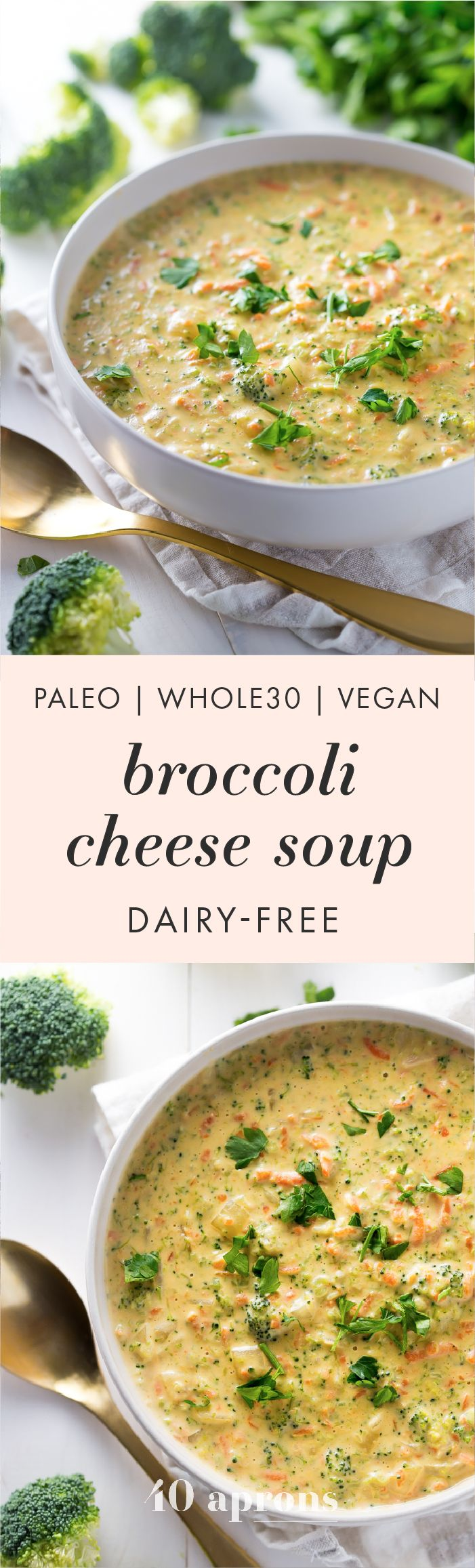 This paleo broccoli cheese soup is rich and creamy, easy to make, and a perfect paleo fall recipe. Whole30 compliant and totally dairy-free, there's plenty of cheesy flavor with none of the lactose and no weird ingredients! You'll fall in love with this paleo broccoli cheese soup, and it'll definitely become one of your favorite paleo fall recipes.