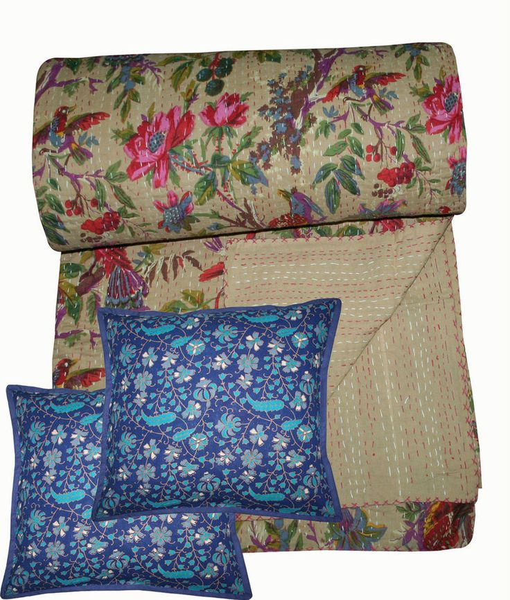 Kantha Quilt Reversible Kantha Bed Cover King Size Bed free 2pcs cushion cover