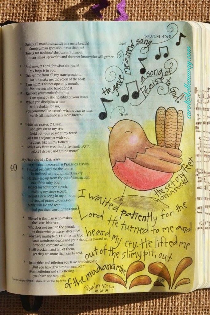 Psalm 40:1-3, October 21, 2015 #bibleartjournaling #journalingbible #illustratedfaith