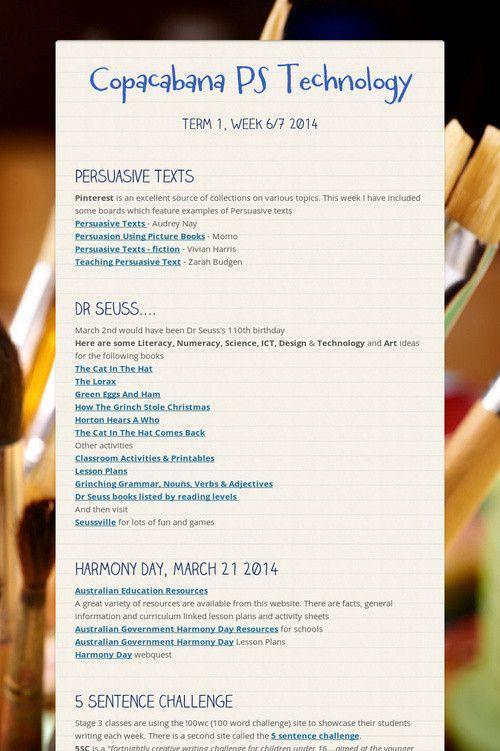 Copacabana PS Technology Term 1, Wk6/7