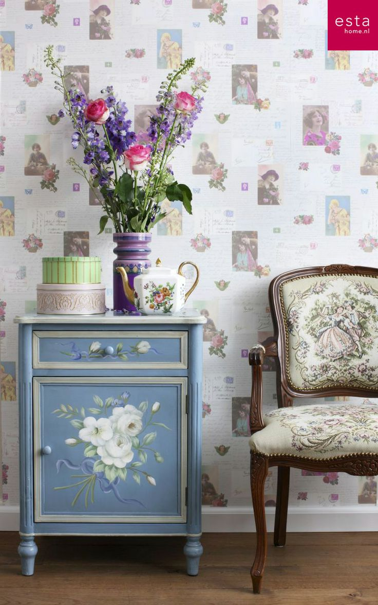 non-woven wallpaper vintage postcards. collection Pretty Nostalgic ESTAhome.nl