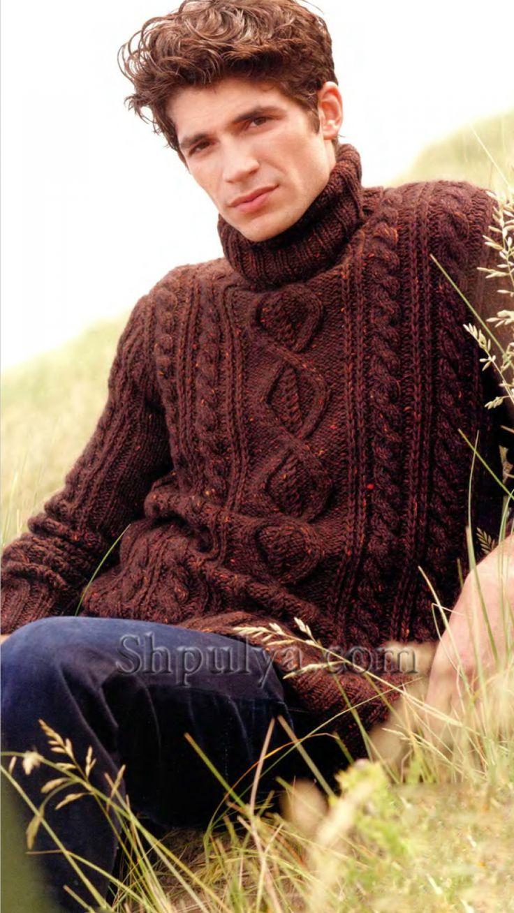 Мужской коричневый свитер с ирландским узором