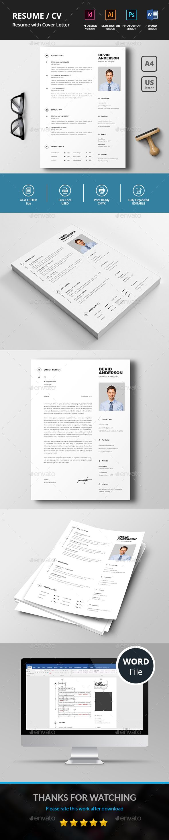Resume / CV Template PSD, Vector EPS, InDesign INDD, AI Illustrator, MS Word - A4 & US Letter Sizes
