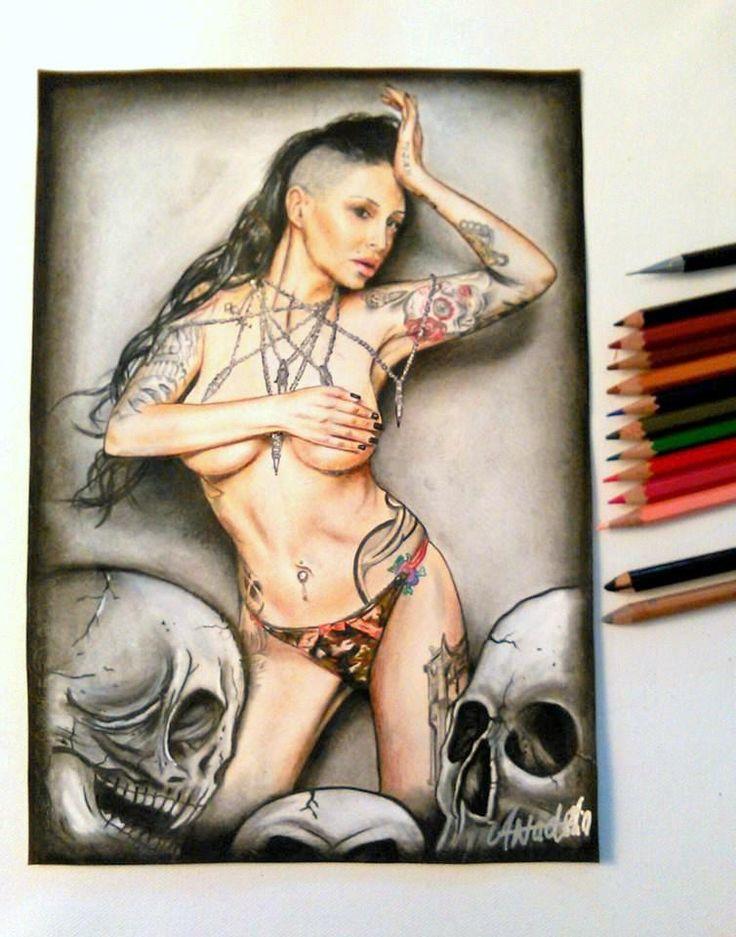 portrait of my best friend the beautiful Bibiana Atada...tattoed model  used colored pencil, posca n carbon