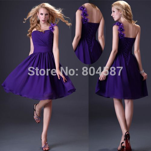 Promotion Chiffon A line One Shoulder Knee Length Ball Prom Vestido Para Madrinha Wedding Party Bridesmaid Dresses Purple CL3431-in Bridesmaid Dresses from Apparel & Accessories on Aliexpress.com | Alibaba Group