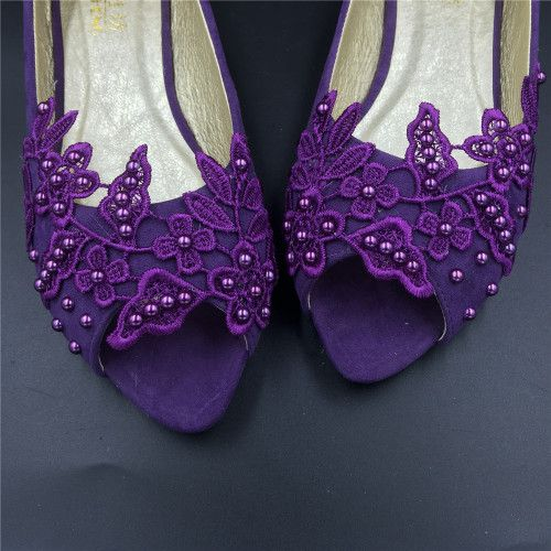 Purple Peep Toe Wedding Flats ShoesPurple Open Bridal Shoes