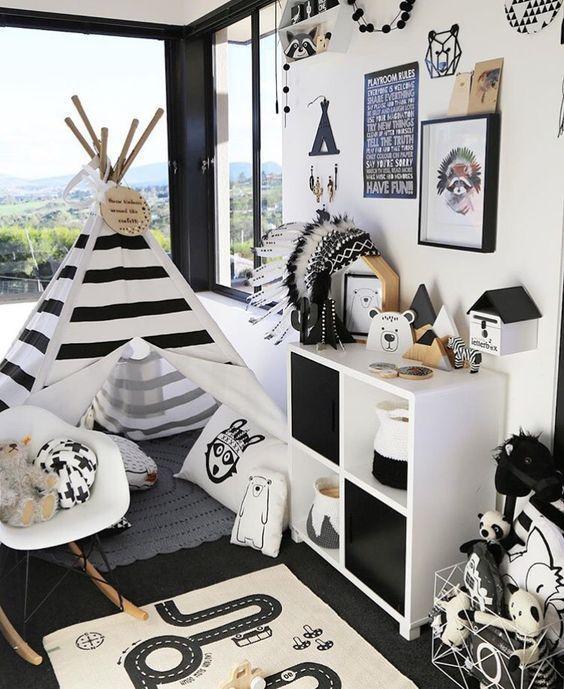 Conjuntos de berçário preto branco