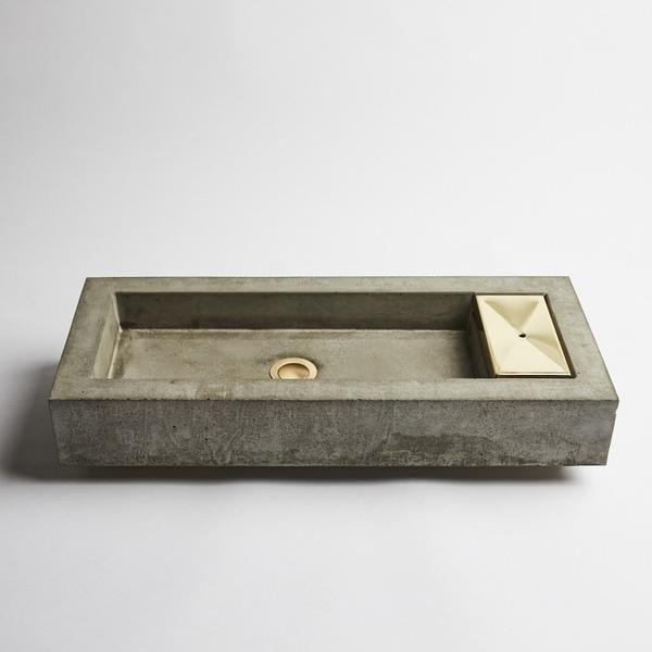 Zoe concrete and brass vanity basin