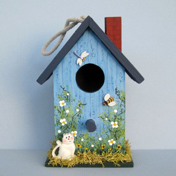 Blue Spring Birdhouse by sanquicreations on Etsy, $8.99