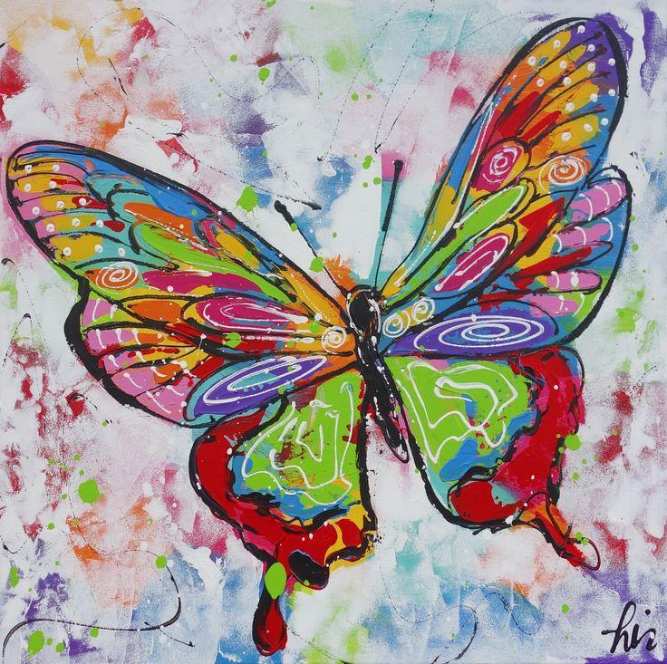 Vlinder wit - www.vrolijkschilderij.nl