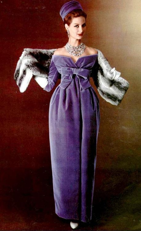 Model wearing a purple velvet dress by YSL for Christian DIor, 1958. Jewellery by Vendome. Photo by Philippe Pottier.: