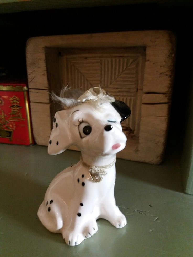 I found from the flea market this lovely dalmatian puppy. There is label Japan on the bottom  and Year 1966 Christmas present.