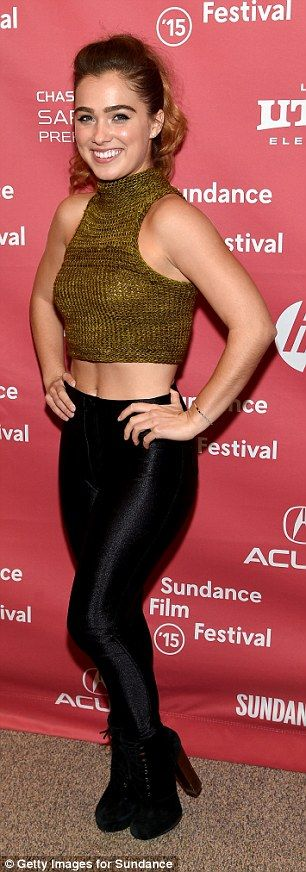 Braving the cold: Actress Haley Lu Richardson donned Lycra leggings and a knitted crop top at The Bronze showing
