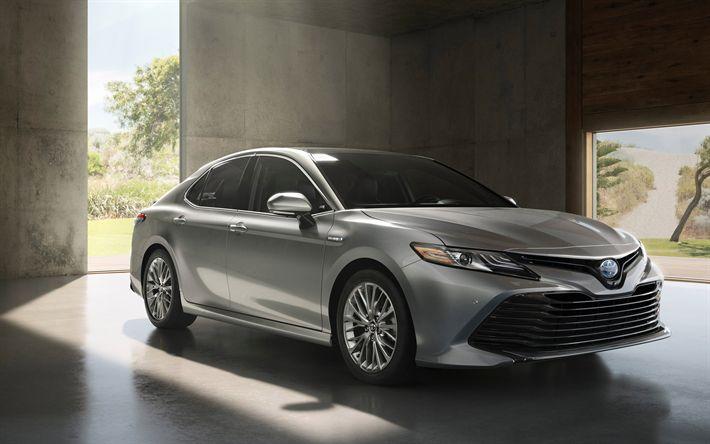 Descargar fondos de pantalla 4k, Toyota Camry, coches de lujo, 2018 coches, gris Camry, los coches japoneses, Toyota