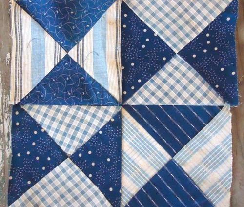 "WOW 1800s Antique Indigo Blue Calico Homespun Pinwheel Quilt Block 9 5"" 2 | eBayQuilt Block"
