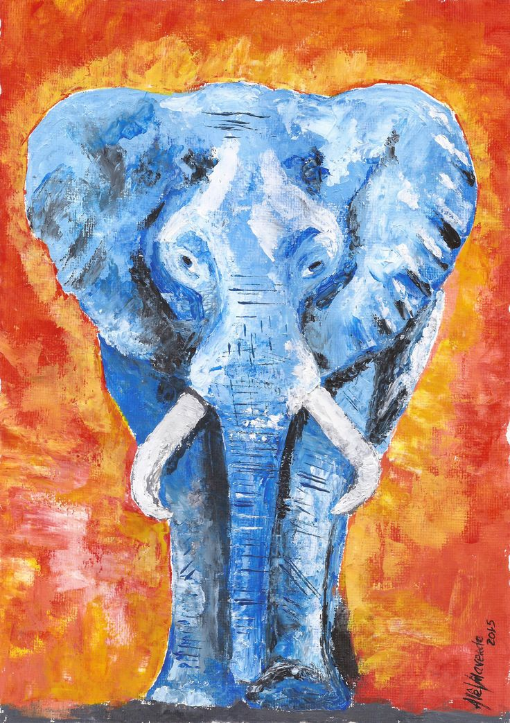 Elefante azul - acrílica espatulada - Alê Vilaverde/ art/ acrylic/ painting