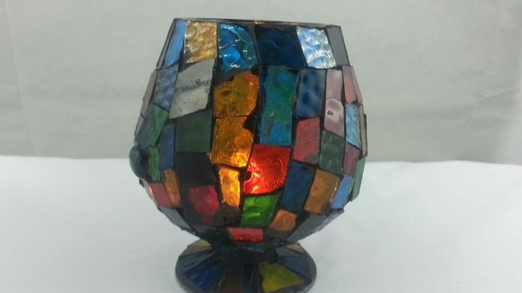 Handmade Stained Glass Mosaic Multi Color Votive Candle Holder  #Handmade