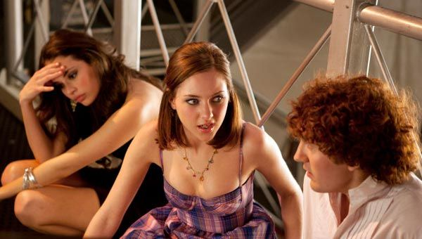 "Chloe Bridges as Neve, Haley Ramm as Heather, and Daryl Sabara as Clark in ""Worst. Prom. Ever."""