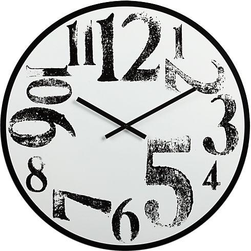 stamped numbers clock in clocks   CB2