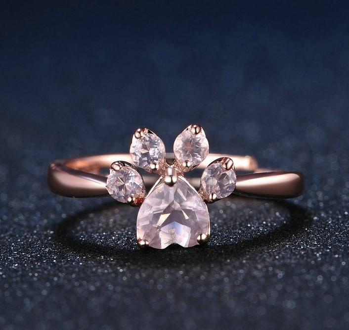 Cutest Paw Cut Created Natural Rose Quartz Ring