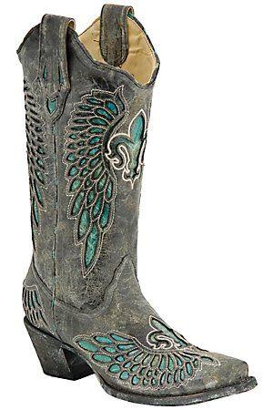 Corral Ladies Distressed Black w/ Turquoise Fleur de Lis Snip Toe Western Boots