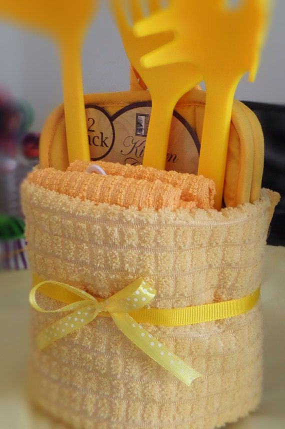 Colorful kitchen housewarming dish towel cake by TheCandyCaneLady