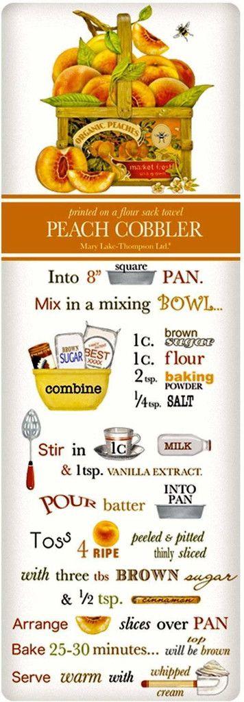 Harvest Peach Cobbler Recipe 100% Cotton Flour Sack Dish Towel Tea Towel