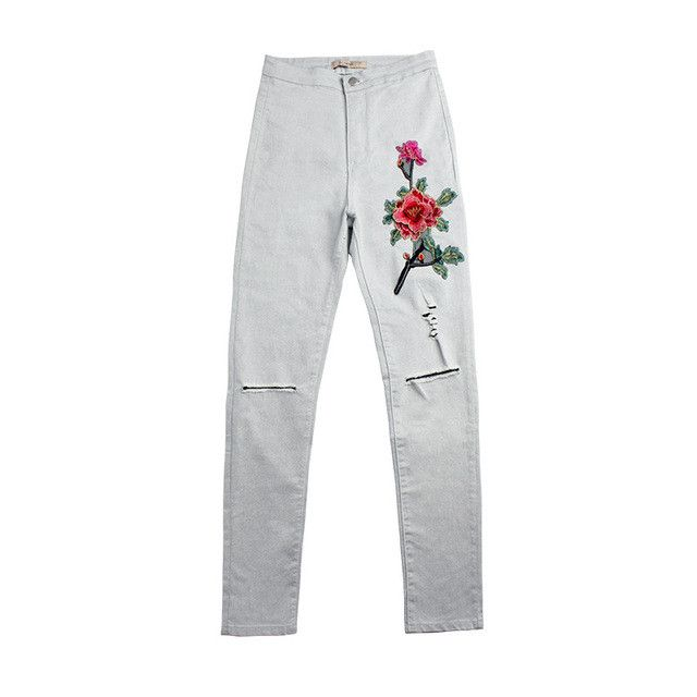 Achiewell American Apparel | Women Jeans Knee Ripped White 3D Floral Embroidery Ripped Women Pencil Jeans