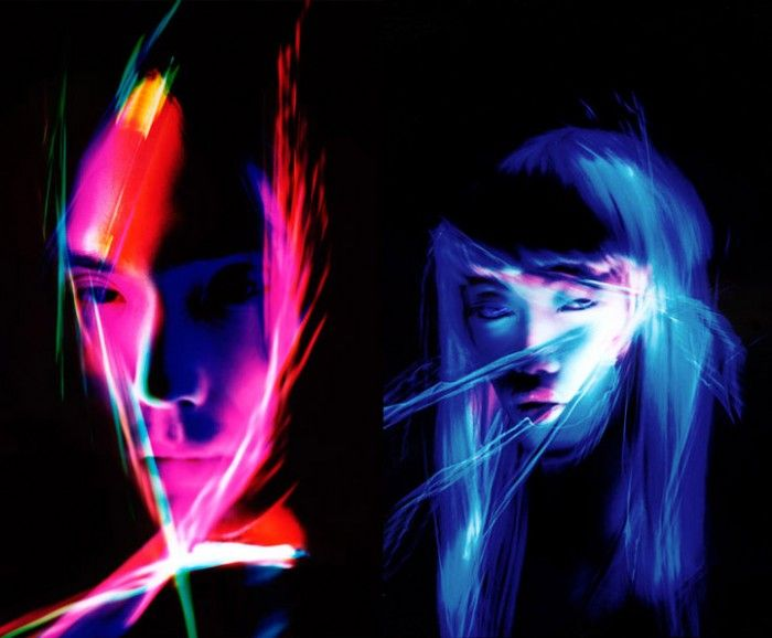 Patrick Rochon is a Light Painting Master – his amazingly stylized and visually complex photography  is created by using lasers to illuminate his subjects in ways that create an eerie, otherworldly feel in the finished portraits.