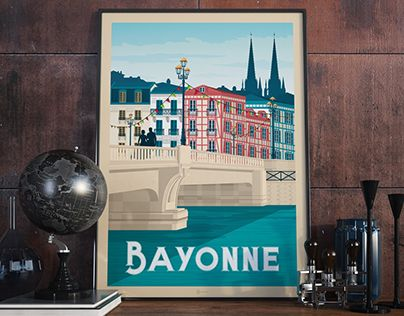 "Check out new work on my @Behance portfolio: ""BAYONNE France Retro Travel Poster Illustration"" http://be.net/gallery/56918801/BAYONNE-France-Retro-Travel-Poster-Illustration"