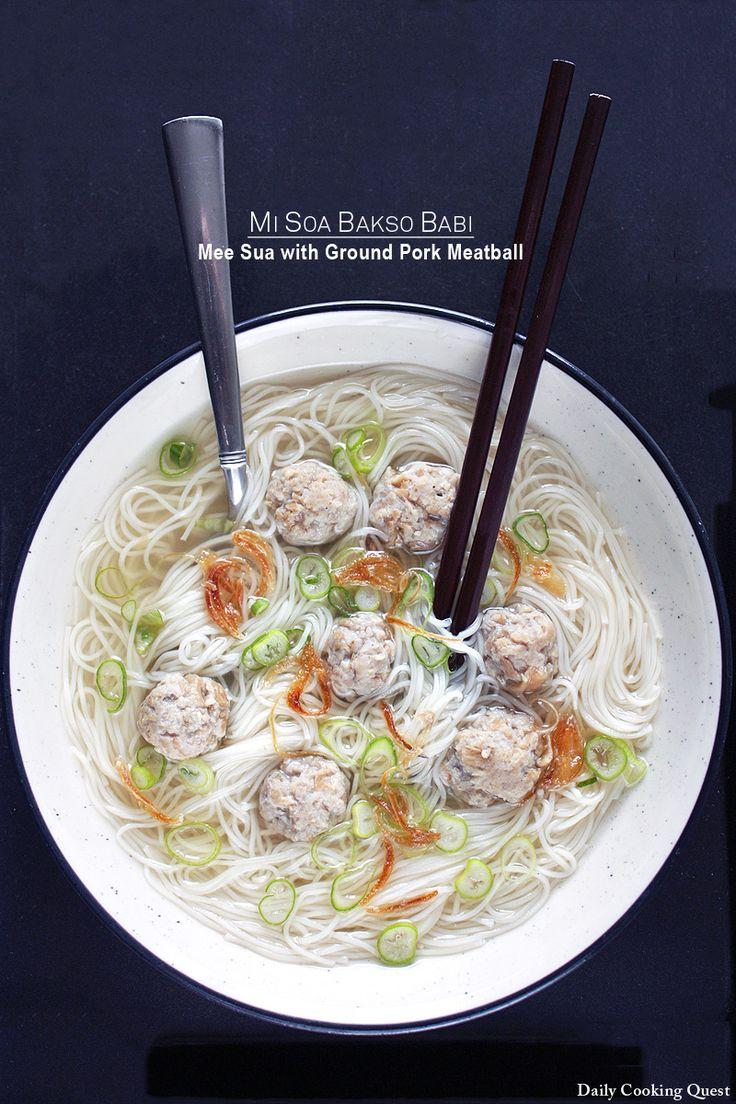 Mi Soa Bakso Babi – Mee Sua with Ground Pork Meatball