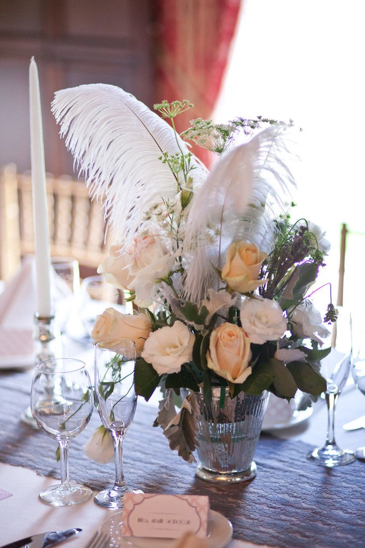 Best 25 Feather Wedding Centerpieces Ideas On Pinterest Diy 20s Decorations Feather Bouquet