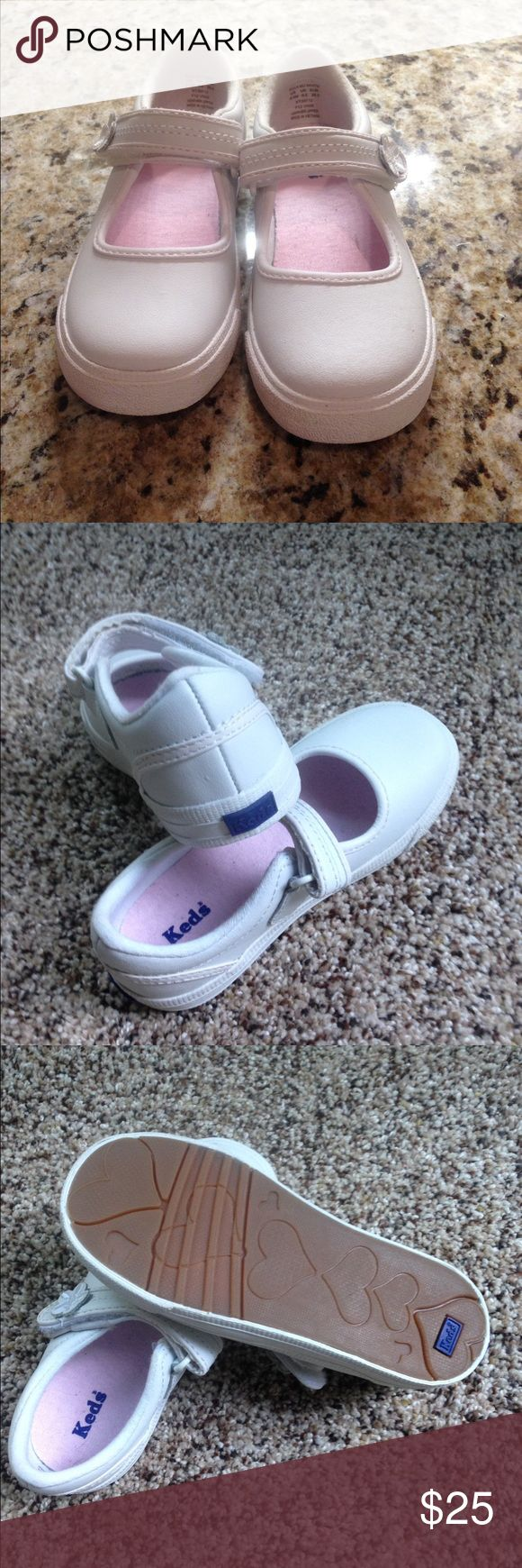 Keds - Toddler girls, white leather keds Velcro closure. Brand New. Never been worn. White leather. Size 9.5M toddler. Shoes Sneakers