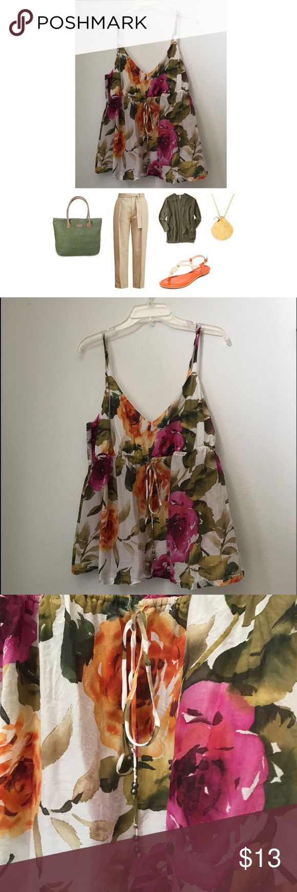 Tommy Bahama Floral Cami Beautiful and light cami with floral print..great colors to pair with anything. Size is XL but does fit more like a large. Stretch band back and adjustable straps. Tommy Bahama Tops