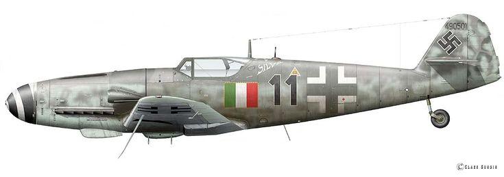 Messerschmitt Bf 109 G-10, flown by Sergante Maggiore Loris Baldi 2 Gruppo Caccia ANR, Aviano/Italy, February 17, 1945. Profile by Claes Sundin.