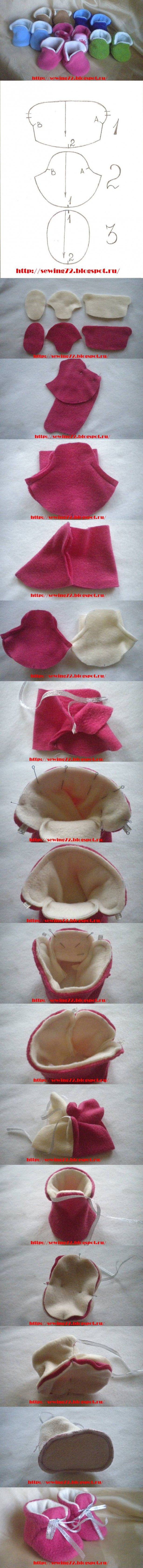diy, tutorial, how to, instructions for doll booties
