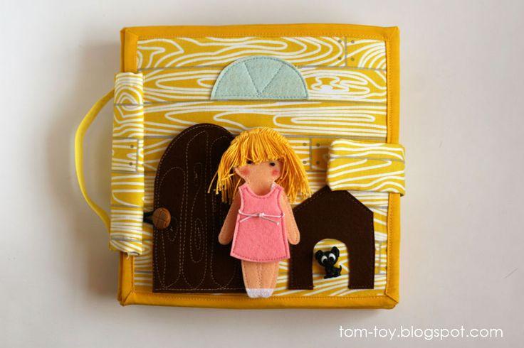 Dollhouse book, quiet book  busy book, fabric book, felt book, felt paper doll, кукольный домик, развивающая книжка