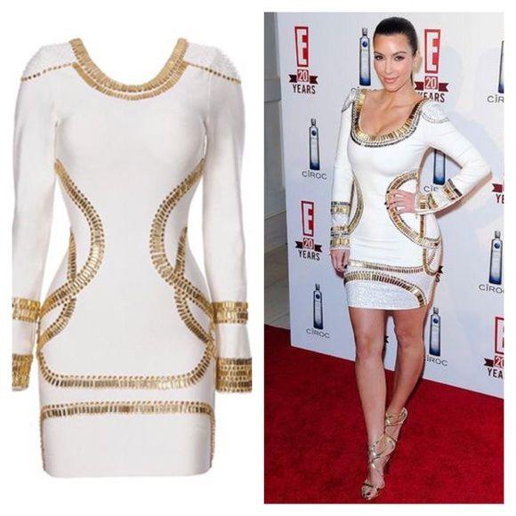 Kim Kardashian white & gold bandage dress gold embellished dress Herve Leger Dresses