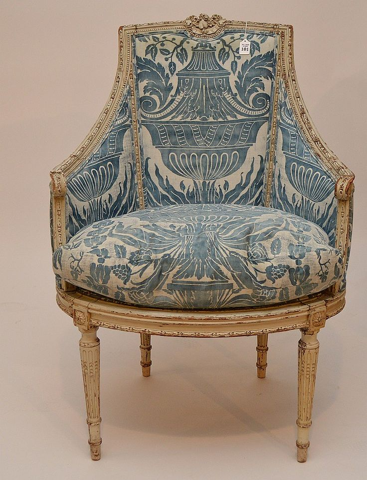 Painted French arm chair with blue Fortuny fabric, 41'h