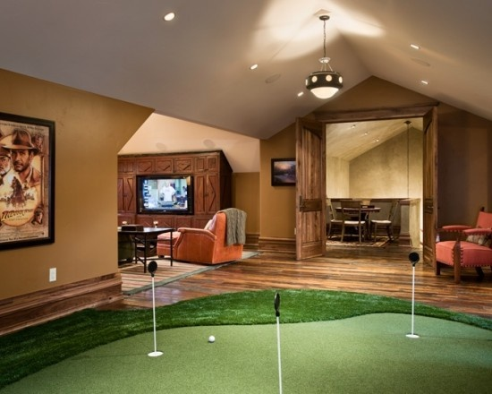 Man Cave Kristan Green : Love the putting green in this man cave with walnut