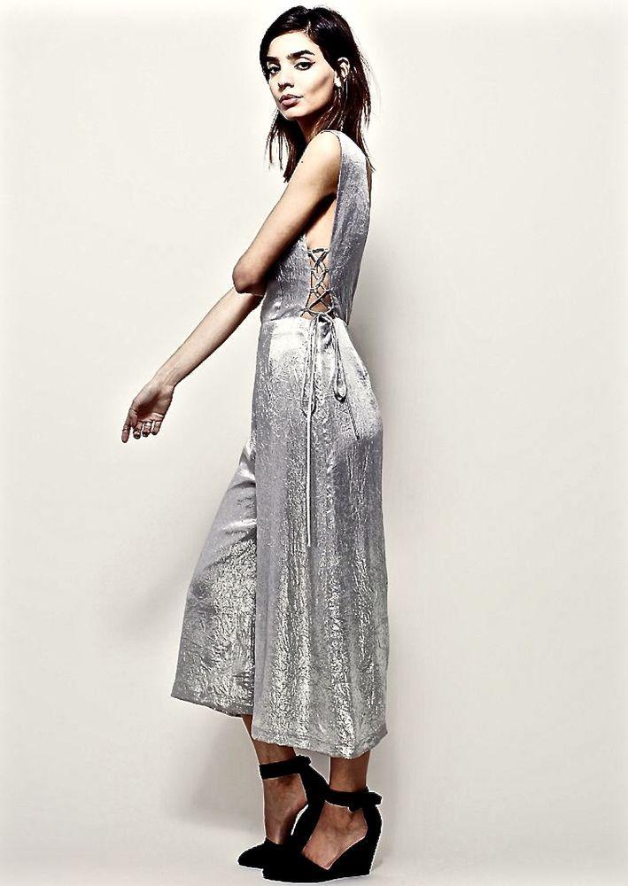 NEW Free People JOA Silver Metallic Jumpsuit side ties low back wide leg L #JOA #jumpsuit #versatile