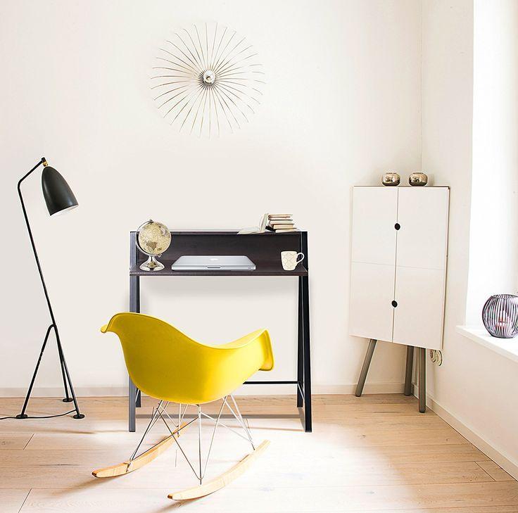 bonVIVO® Schreibtisch ROXANNE mit 2x USB-Port, moderner Sekretär im stilvollen Mix aus Holz in Dunkel-Braun und eleganten Stahl-Beinen in schwarz: Amazon.de: Küche & Haushalt